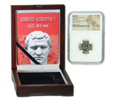 Judaea AE Agrippa 1st (AD 41-44) Prutah NGC Wood Box (High grade)