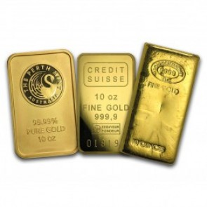 10 oz Gold Bar .999 - Brand name (carded)