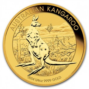 A 1/4 oz. Australian Gold Kangaroo is 20.60 mm in diameter and 2.00 mm thick.