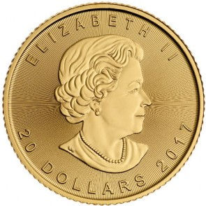 2017 Canadian Gold Maple Leaf 1/2 oz Front