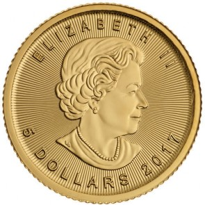 2017 Canadian Gold Maple Leaf 1/10 oz Front