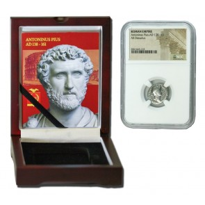 Roman Silver Denarius of Antoninus Pius (AD 138-161) NGC Wood Box (Low grade)