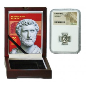 Roman Silver Denarius of Antoninus Pius (AD 138-161) NGC Wood Box (Medium grade)