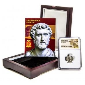 Roman Silver Denarius of Antoninus Pius (AD 138-161)  NGC Wood Box (VF)