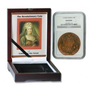 Russian 5 Kopek of Catherine the Great (AD 1776) NGC Wood Box (Medium grade)