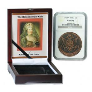 Russian 5 Kopek of Catherine the Great  (AD 1767-96) NGC Wood Box (Medium grade)