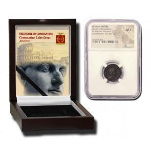 Roman AE of  Constantine I, the Great (AD 272-337) NGC Wood Box (AU)