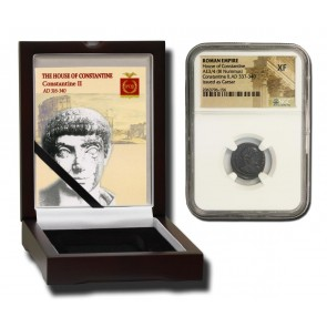 Roman AE of  Constantine II (AD 316-340) NGC Wood Box (XF)
