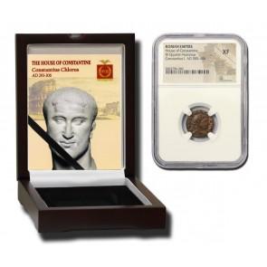 Roman AE3 of Constantius Chlorus 1st (AD 293-306) NGC Wood Box (XF)