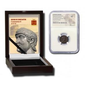 Roman AE of Constantius II (AD 317-361) NGC Wood Box (XF)