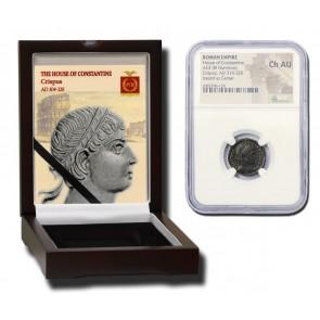 Roman AE of Crispus (AD 304-326) NGC  Wood Box (CH-AU)
