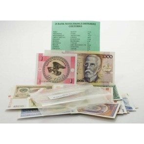 25 banknotes, 25 different countries (U)