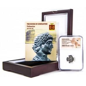 Roman AE of Delmatius (AD 335-337) NGC Wood Box (XF)