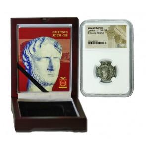 Roman Silver Antoninianus of Gallienus (AD 253-268) NGC Wood Box (Medium grade)