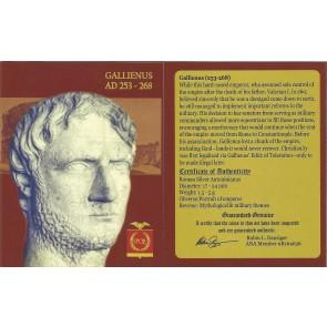 Roman Silver Antoninianus of Gallienus (AD 253-268) NGC Wood Box (VF)