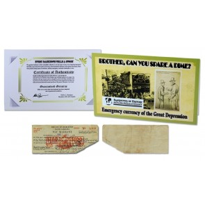 Emergency Currency of the Great Depression $1 Pay Warrant Single Banknote Folder