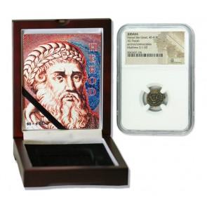 Judaea AE Herod 1st (40-4 BC) Prutah NGC Wood Box (High grade)