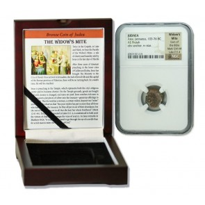 Judaea AE Widow's Mite (103-76 BC) Prutah NGC Wood Box (Premium Grade)