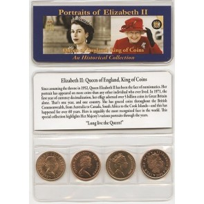Queen Of England Four Historical Coins Mini
