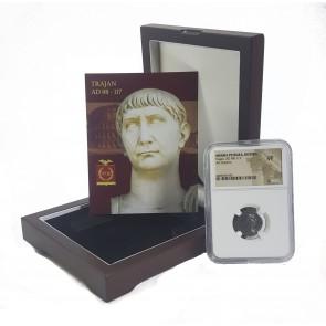 Trajan, Arabia Provincial Issue, Silver Antoninianus NGC Certified Slab Wood Box (VF)