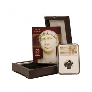 Roman Silver Denarius of Trajan (AD 98-117) NGC Wood Box (XF)