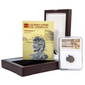 Roman AE of Valentinian I (AD364-375)NGC Wood Box (VF)